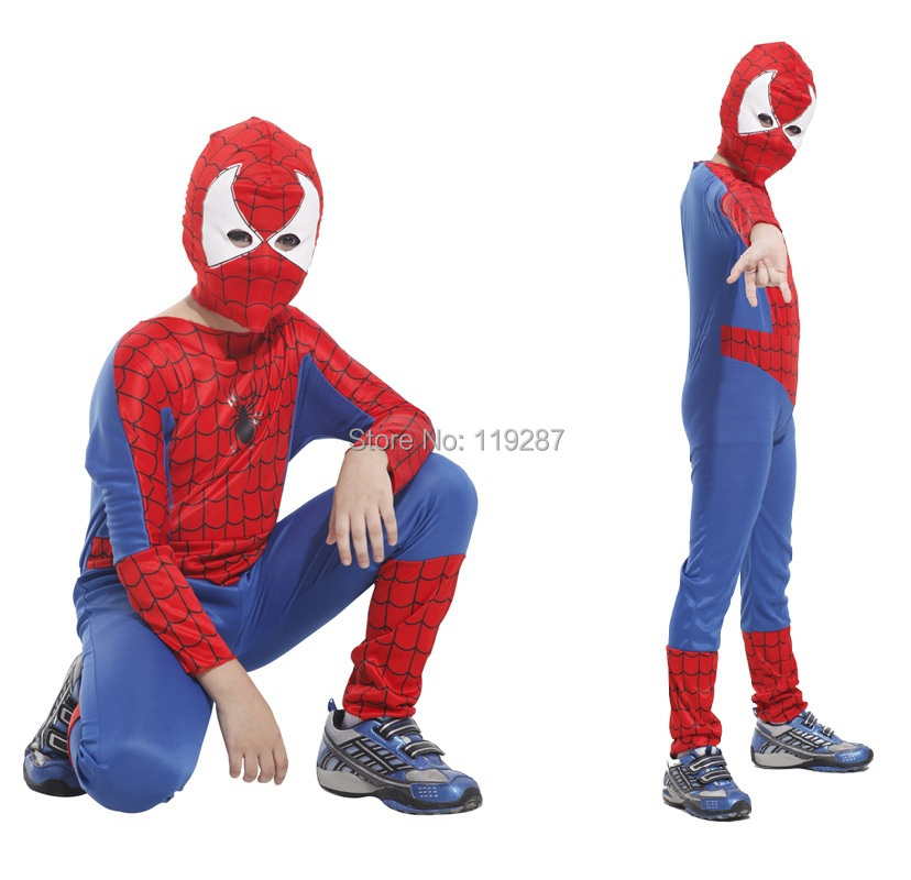 Cheap Childrens Halloween Costumes free shipping dhl cheap wholesale anime supergirl child costume kids halloween costume child halloween costume kc013 Children Spiderman Costumes Boys Kids Halloween Party Superman Cosplay Costume Spiderman Tight Muscle Jumpsuit For Kid