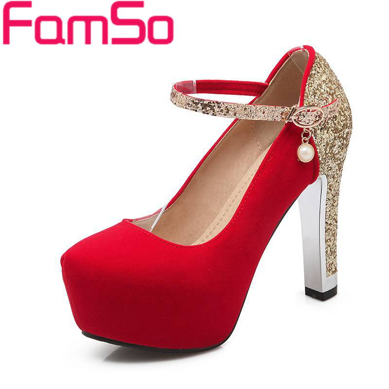 Plus Size34-42 2016 New Sexy Autumn Female Wedding High Heels Pumps red Gold silver Glitter Heels Pumps Women's Pumps PS1582(China (Mainland))