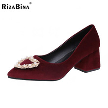 Buy Women High Heels Shoes Pointed Toe Pure Color Pumps Lady Beading Stylish Thick Heel Shoes Women Daily Footwear Size 35-40 for $16.69 in AliExpress store