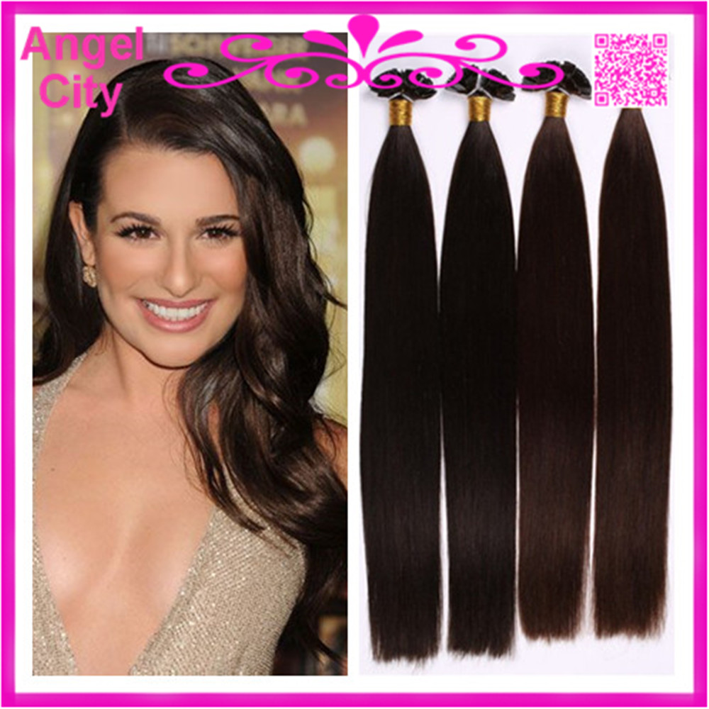 18-28Natural Remy Indian keratin prebonded hair extensions flat tip hair extensions 1G/S 100G/PC 300G/LOT In STOCK Free Shipping(China (Mainland))