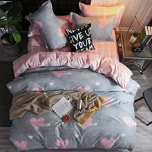 Pink cartoon girl Room Decoration Bedspread Bed Sheet Pillowcase & Duvet Cover Set 3/4pcs Bed Soft comfortable bedding sets(China)