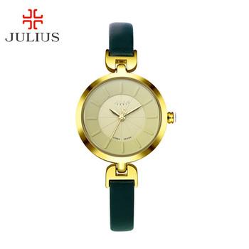 New Julius Lady women Wrist Watch Quartz Hours Best Fashion Dress Simple Leather Bracelet Girl Christmas Birthday Gift JA-864