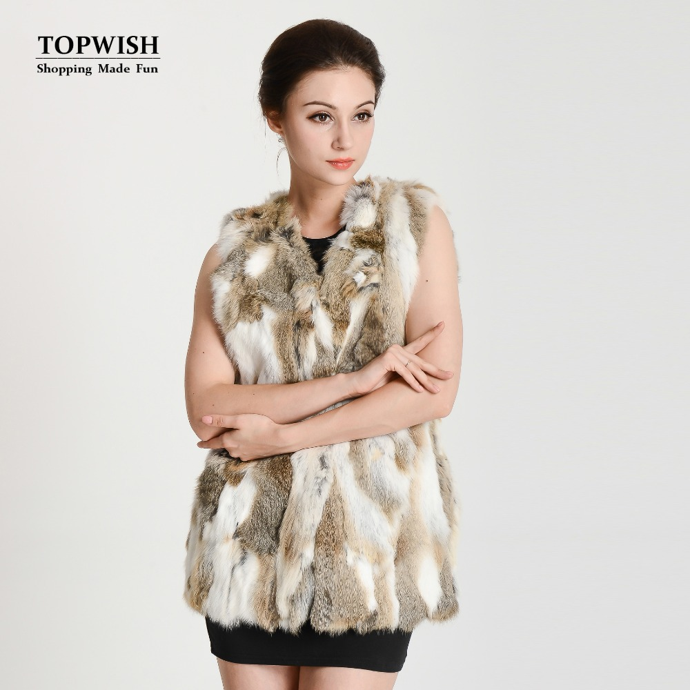 2017 New Arrival Real Rabbit Fur Vest Lady Luxury Fashion Fur Vest Free shipping THP134(China (Mainland))