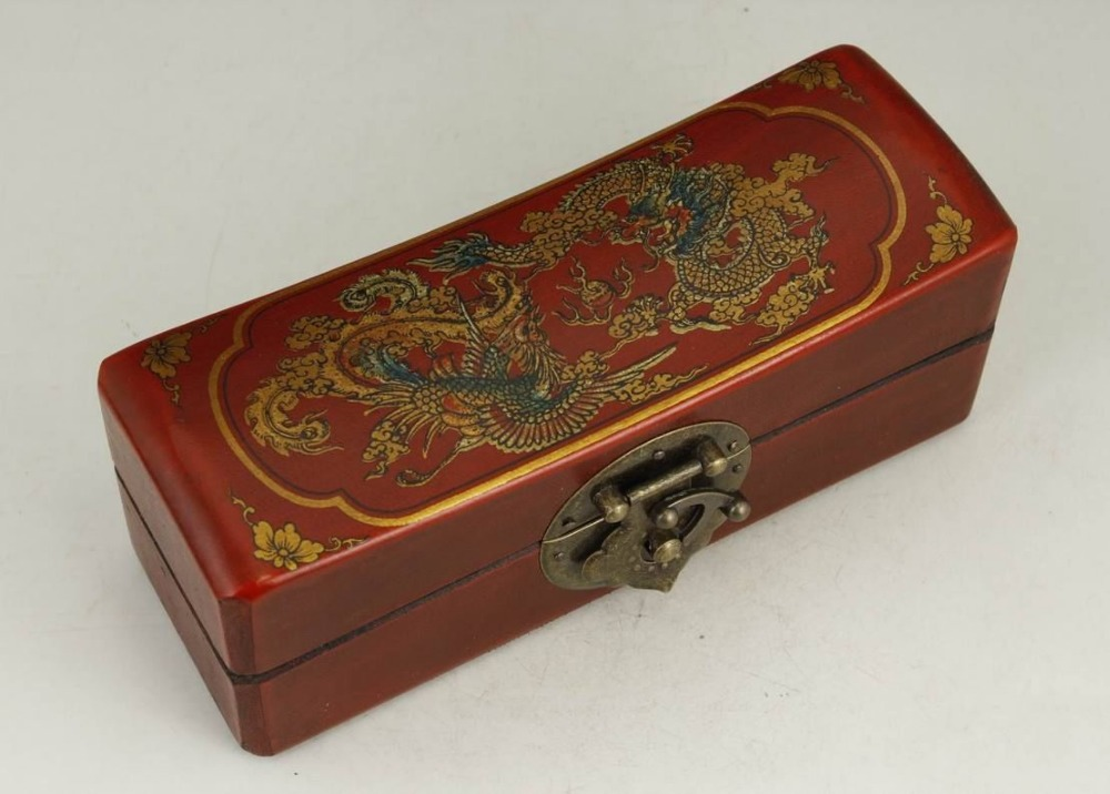Exquisite Chinese Classical Old-style Handwork Wood Dragon Phoenix Jewel Box(China (Mainland))