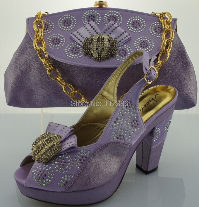 Italian Fashion Shoes Matching bag, High heel shoes bag set ME0067 lilac - African clothing store