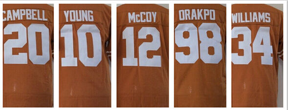 Texas Longhorns 12 Colt McCoy 10 Vince Young 20 Earl Campbell jersey Cheap American Football Jersey Accept Mix Order(China (Mainland))