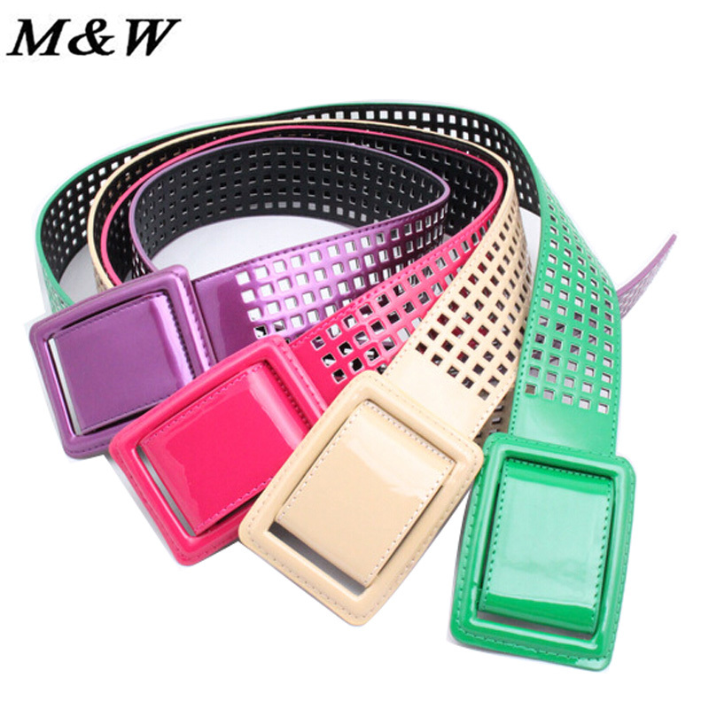 2015 Korean Summer Slim Bright Patent Leather Belt Hollow Bag Buckle Wide Waist Belt Decorated Hypoallergenic Belt Wholesale(China (Mainland))