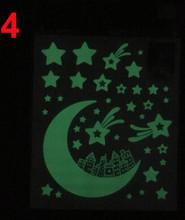 Луна звезды светится в темноте Люминесцентные наклейки на стену для детей спальни(China)