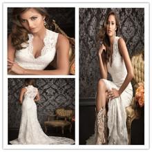 2015 Sheath V-neck Lace Wedding Dresses buttons white sleeveless Wedding Dresses(China (Mainland))