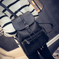 Belt Buckle Ornament Women Fashion Solid Color Preppy Style Backpack Trendy Simple Drawstring Flap Designer Backpack