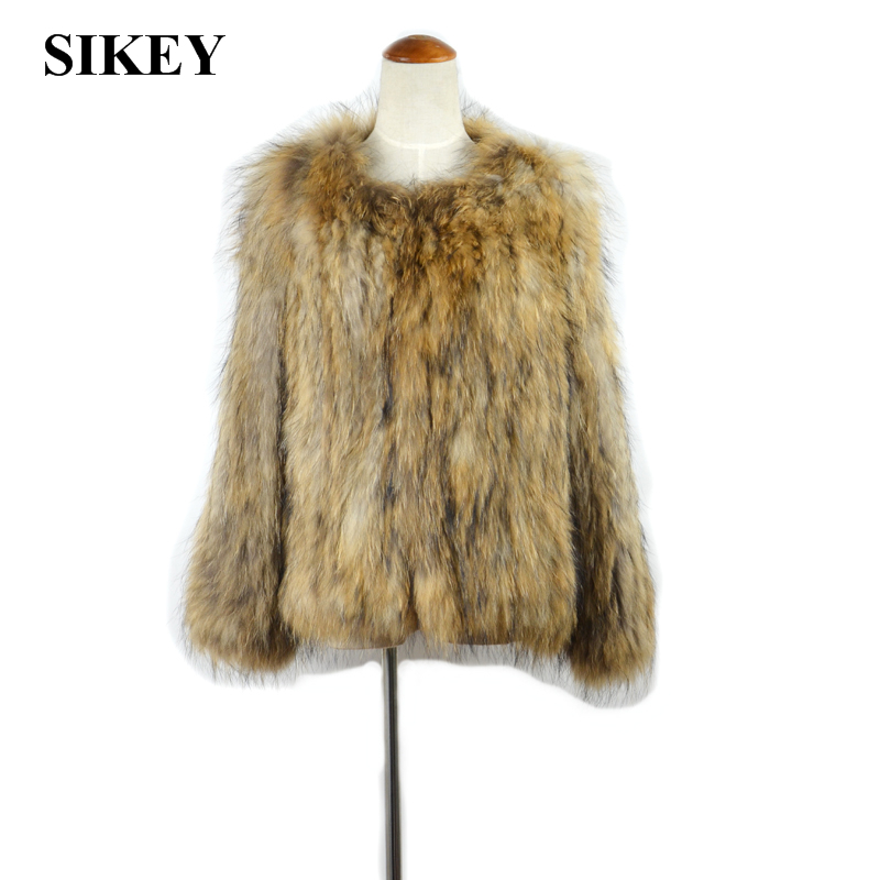 CR035 New Real raccoon fur knitted coat/jacket winter ourwear(China (Mainland))