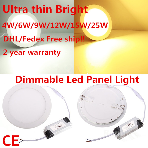 DHL free shipping 10pcs 2015 Dimmable Led Panel Light 4W 6W 9W 12W 15W 25W Round Shape With Power Adapter AC110-220V Ultra thin(China (Mainland))