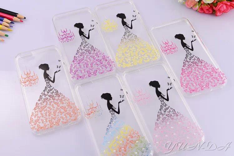 Fancy Rhinestone wedding dress 3D Relief art iPhone 6 case 4.7 inch luxury crystal hard back cover shell plus - YUN-DA Technology Co.,Ltd store