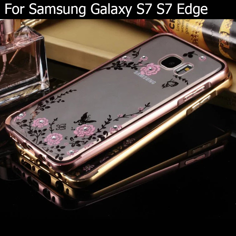 S7 Edge Case Luxury Plating Bling Diamond Metal Aluminum+ Back Cover Phone Fundas Bag For Samsung Galaxy S7 S7 Edge case Coque(China (Mainland))