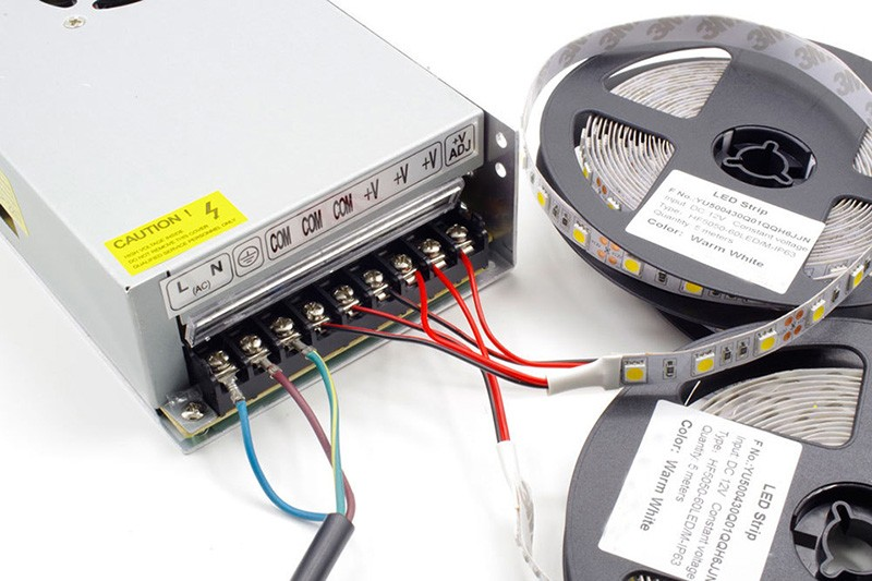 LED strip lights connect with power supply