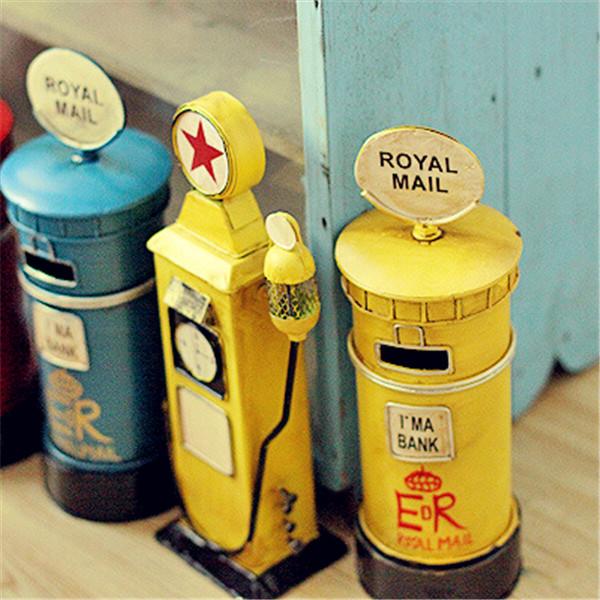 Metal Mailbox Home Decor Craft Ornaments Piggy Bank European Style Vintage Iron Metal Money Box London Royal Mail Metal Mailbox(China (Mainland))