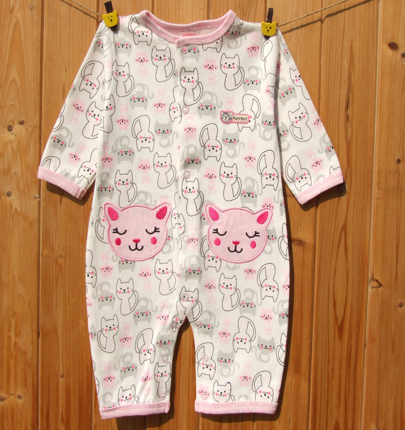 Cotton Cute Cat Pattern Romper Boy Girl Baby Clothes Full Sleeves Clothing Jumpsuit #342(China (Mainland))