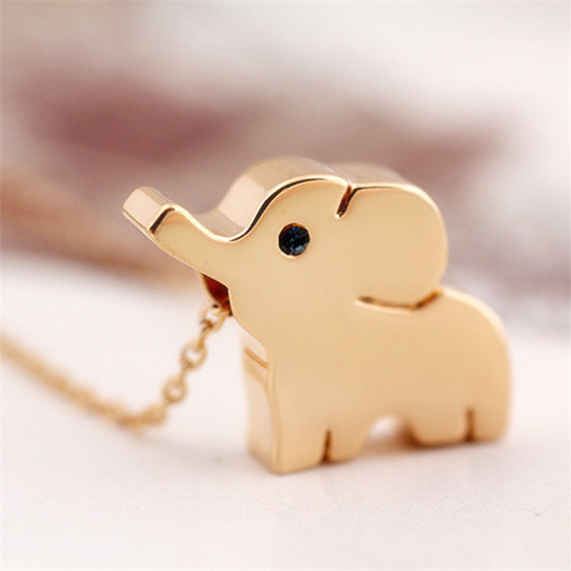 cute elephant Korean female clavicle chain necklace 18k gold short necklace baby elephant neckless(China (Mainland))