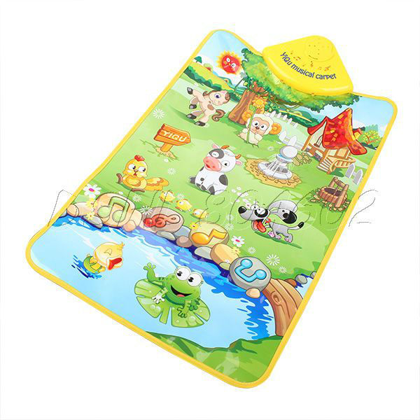 Multicolored Animal Farm Music Touch Play Mat Blanket Kid Baby Novelty Toy