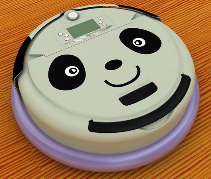 Free Shipping Lovely Panda Face 4 In 1 Multifunctional Robot Vacuum Cleaner,LCD Screen,Schedule Work,Virtual Wall,Self Charge(China (Mainland))