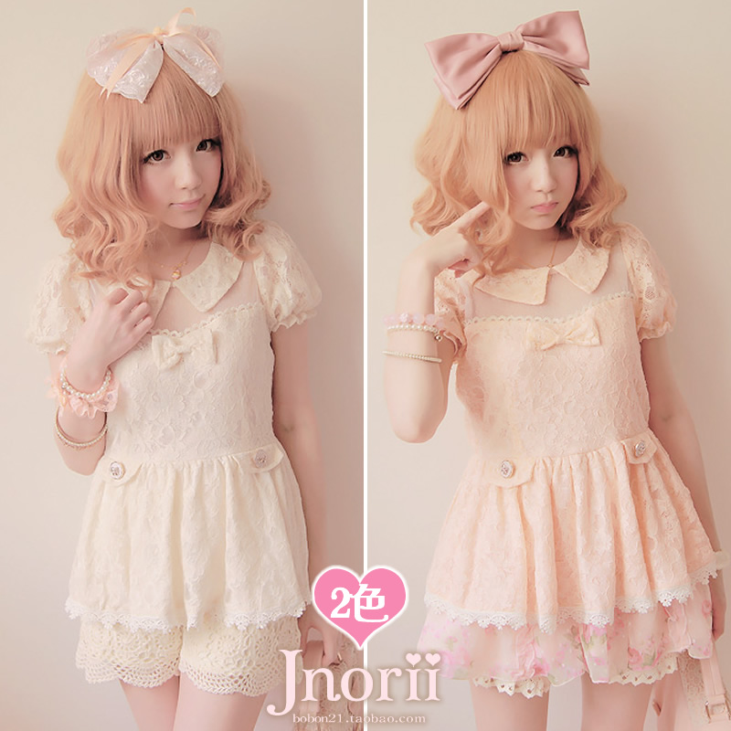 Sweet lolita princess royal pink gentlewoman  transparent full lace patchwork puff sleeve skirt doll top t0804Одежда и ак�е��уары<br><br><br>Aliexpress
