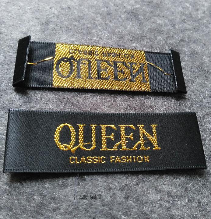 Custom clothing satin woven labels/garment embroidered tags/golden silver thread collar label/dress labels tags 1000 pcs a lot(China (Mainland))