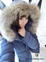 2013 women winter autumn big wool fur collar coat down jacket parkas bulkness casual padded jacket outerwear, free shipping