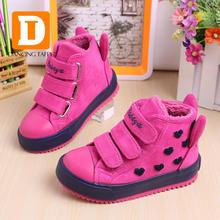 New 2016 Winter Fashion Children Boots Flock Leather Rubber Kids Sneakers Sapato Infantil Kids Boots Children Shoes For Girls(China (Mainland))