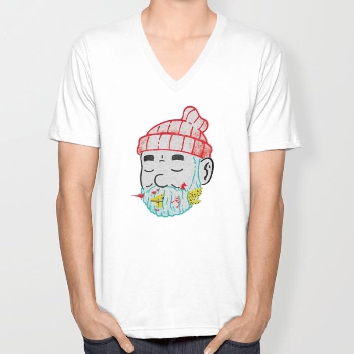 Aquatic Life v-neck short sleeved casual cotton man and a woman T-shirt Fashion design Free Shipping(China (Mainland))