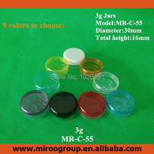 Free Shipping 10pcs 3g colorful small round empty plastic cosmetic jars containers, sample plastic bottle for cosmetic packaging