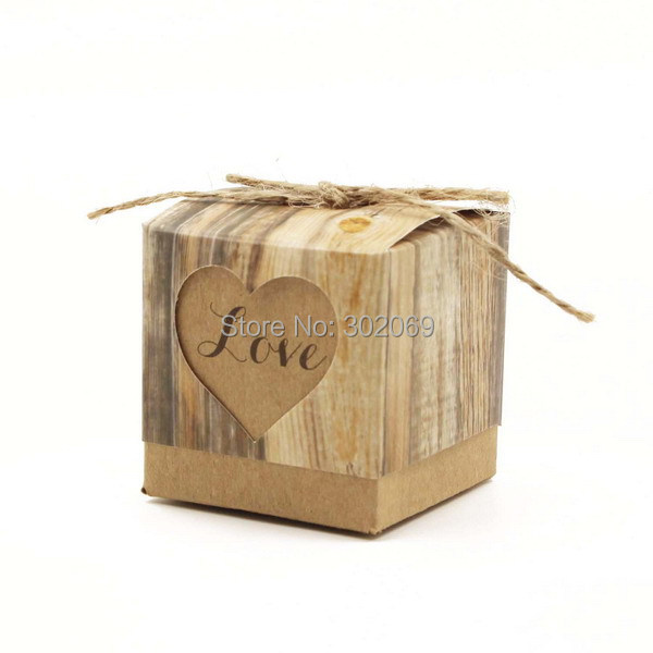 New popular Hearts in Love Rustic Vintage Wedding paper Gift Box 100pcs/lot(China (Mainland))