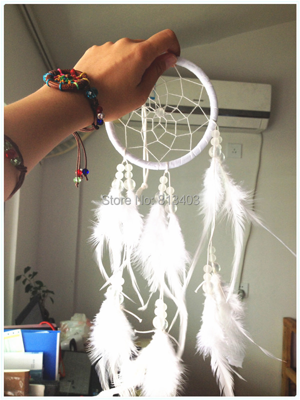 9cm Diameter South Korean TV Soaps The Heirs Car and Home Decor Gift White Feather Dream Catcher Decor Dream Catchers(China (Mainland))