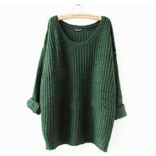 Women's Loose Casual O Neck Long Sleeve Knit Knitwear Outwear Jumper Pullover Top Blouse Sweater Black/Wine(China (Mainland))