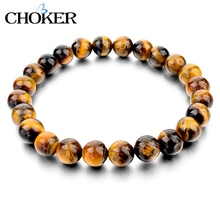 Tiger Eye Love Buddha Bracelets & Bangles Trendy Natural Stone Bracelet For Women Famous Brand Men Jewelry 2016 New Pulseras(China (Mainland))