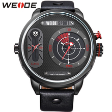 WEIDE Leather Watch Strap 3ATM Water Resistant Military Army Dual Time Quartz Large Dial Watch Sports Clock Relogio / WH3409