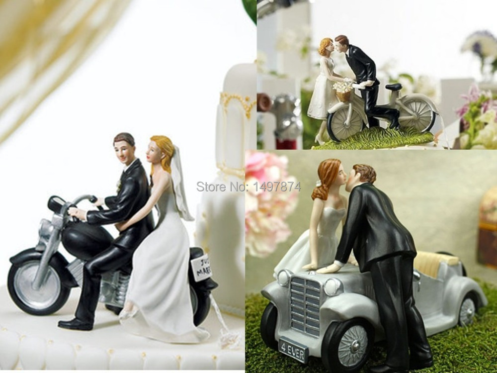 Motorcycle Bicycle Romantic Funny Wedding Cake Toppers Figurines Couple Bride And Groom For