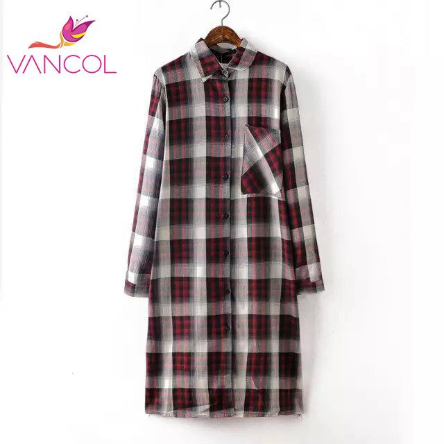 Women Shirt Dress Fashion Autumn Cotton Plaid Print Front Back Pocket Long Sleeve Turn-down Collar Casual Button Front Dress(China (Mainland))