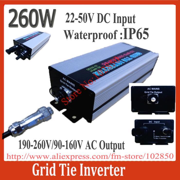 IP65 22-50V DC grid tie solar power inverter,260W Grid Tie Micro Inverter,Ultra Lightweight,CE(China (Mainland))