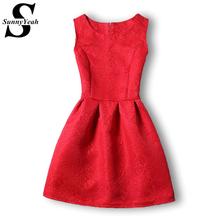 Women Dress 2016 New Fashion Summer Style A-Line O-neck Party Evening Elegant Vintage Blue Red Black Dress Vestidos De Festa(China (Mainland))