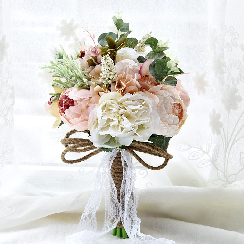 champagne rose flores de la boda ramo hecho a mano ramo de flores broche de ramo