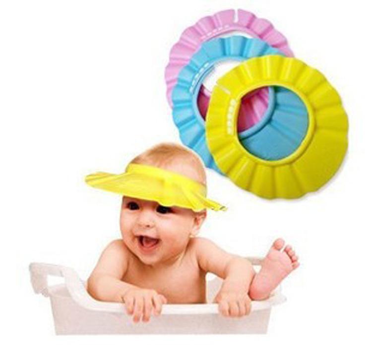 1Pcs Soft Baby Kids Children Shampoo Bath Shower Cap Adjustable Baby Shower Hat Baby Shampoo Cap Wash Hair Shield(China (Mainland))