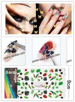 10pcs/lot 15cmx9cm Big Pattern Nail Sticker / Nail Decals tattoos, 43 Different Styles AvailableJapanese stylish. hot fashione