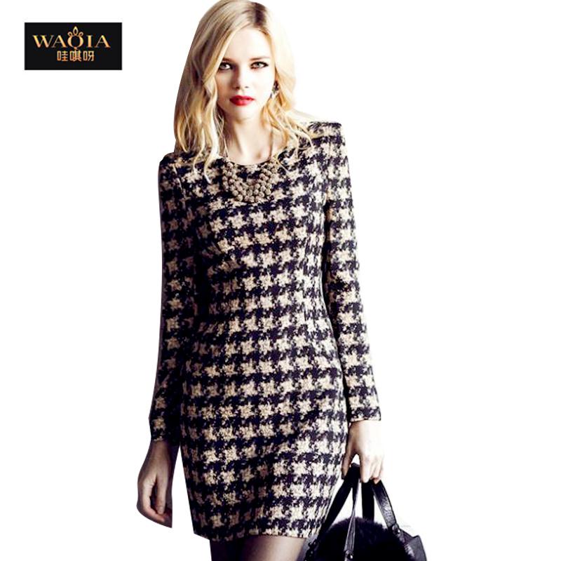 WAQIA 2015 plus size vestidos Warm Women Cotton Autumn winter dress NIbbuns Slim Long sleeve dress Print Plaid women dress(China (Mainland))