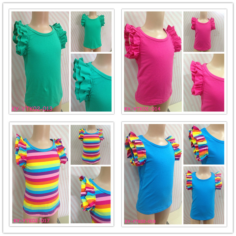 2015 POSH Summer Baby Girls Boutique Shirts With Ruffle Sleeves Children Double Ruffles Sleeve Clothes Cotton Tops Free Shipping(China (Mainland))