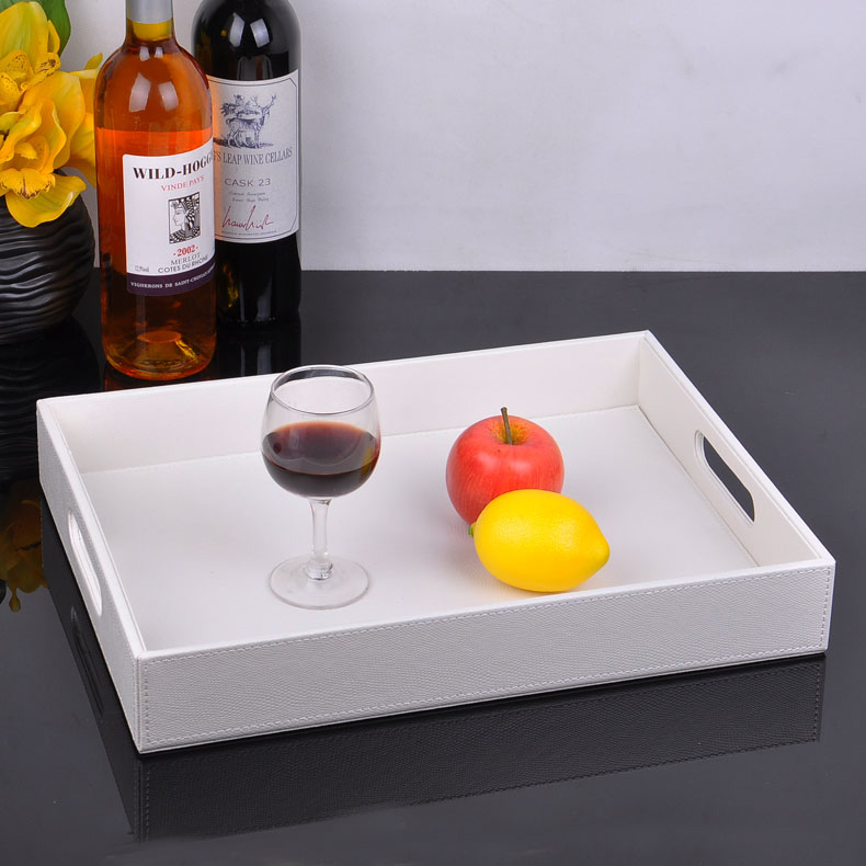 40x30cm rectangle white wooden leather serving tray trays tableware food fruit storage tray bandeja decorativa bandejas 291A(China (Mainland))