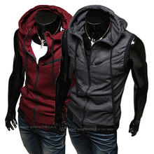 2014 New Hot High quality  New fashion cotton vest Men's Vest hooded coat for men(China (Mainland))