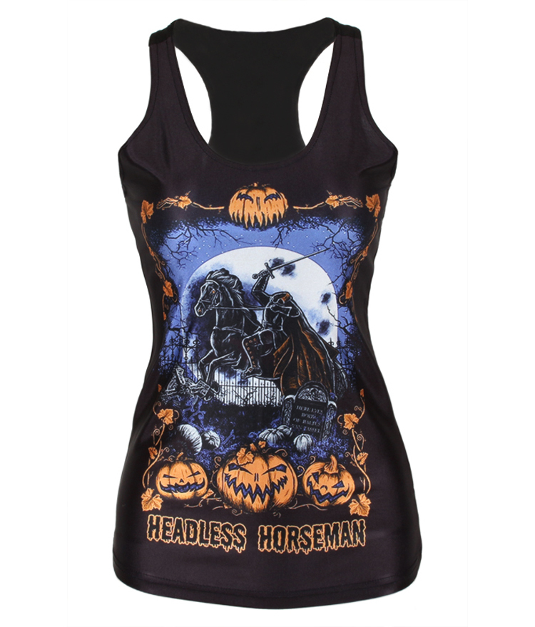 Fashion Womens T-shirt 3D Halloween Printed Camisole Sexy Tank Tops Woman(China (Mainland))