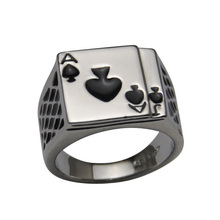 Ajojewel #7-12 Classic Cool Men's Jewelry Chunky 18K White Gold Plated Black Enamel Spades Poker Ring Men(China (Mainland))