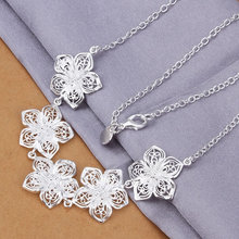 N336 wholesale Silver fashion jewelry Necklace pendants Chains, silver necklace Flower necklace choker necklace(China (Mainland))