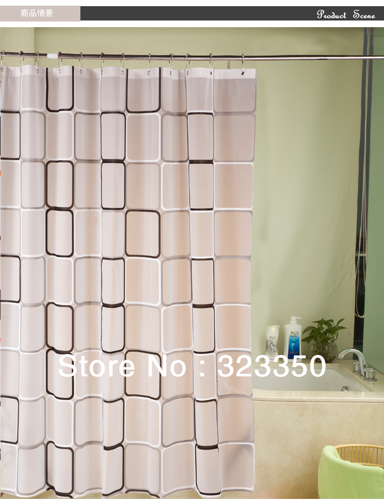 hot sale,1.8m*1.8m thickening waterproof mouldproof bath shade,PEVA shower curtain,Metal hole+hooks,free shipping via cpam(China (Mainland))